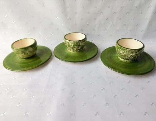Set of 3 Holdenby egg cups English studio pottery vintage 1980s green and white
